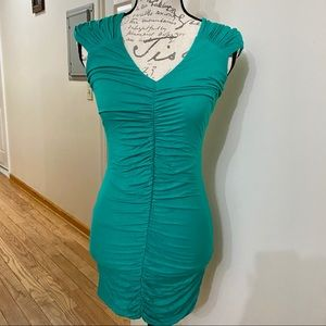 Bebe roughed green dress